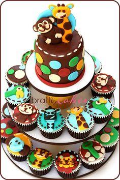 rain forest/safari cupcakes