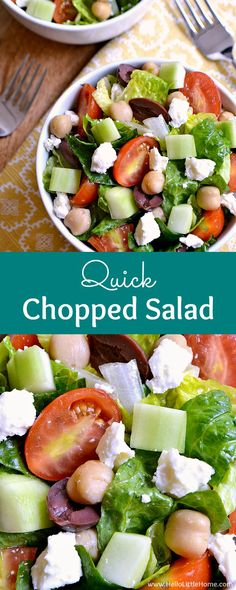 Quick Chopped Salad recipe with Lemon Basil Vinaigrette ... the easiest, most delicious no cook summer recipe! This simple and healthy vegetarian chopped salad (with vegan option) is perfect for hot, lazy days! An easy, veggie packed, low carb / gluten fr