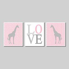 Kids Modern Wall Art Safari Jungle Giraffe Pink Grey Love Set of 3 Prints Gift Nursery Decor Picture Crib Bedding Boy Girl Room Play Room