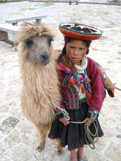 little girl & her llama / Peru