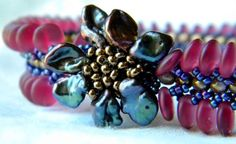 Cranberry and Grape Hand Beaded Bracelet by pjlacasse on Etsy