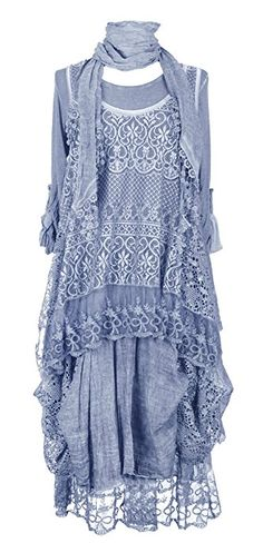 Ladies Womens Italian Lagenlook Quirky Layering LONG 3 Piece Sequin Crochet Lace Long Sleeves Scarf Tunic Top Dress One Size Plus UK 12-20 (One Size Plus, Cornflower Blue)
