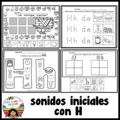 Letra H Silabas ha, he, hi, ho, hu Elementary Spanish, Teaching Spanish, K 1, Spanish Lessons, Pre School, Kindergarten, Bullet Journal, Stickers, Learning