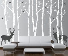 Birch Tree Wall Decal Forest with Birds and Deer Vinyl Sticker Removable Nursery #InnovativeStencils #Modern