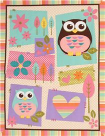 cream owl animal fabric What A Hoot Panel