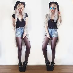 More looks by Lea Brande: http://lb.nu/lea_brande  #coachella #hat #diy #summer #highwaist #redlips #grunge
