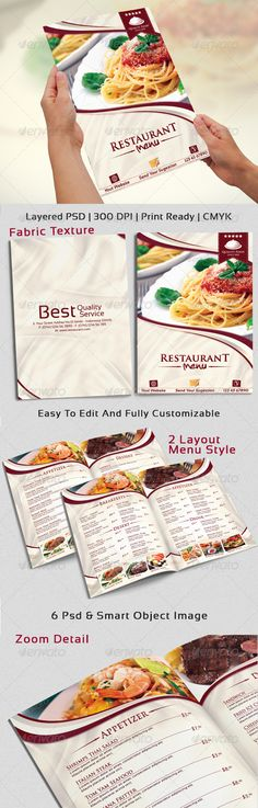 Modern & Elegant Restaurant Menu Template #design #alimentationmenu Download: http://graphicriver.net/item/modern-elegant-restaurant-menu-templates-/6666594?ref=ksioks