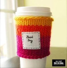 """in my clothing line I'm going to have crocheted coffee sleeves with spikes around the top and """"ladymari3"""" embroidered in black - I want to have neutral colors like tan, cream and ivory so it will match the clothing style"""