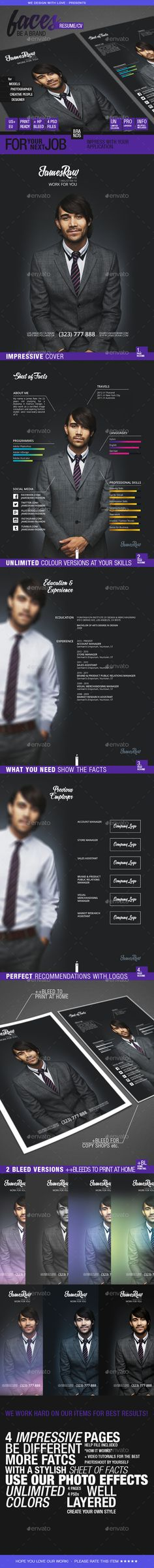 Faces // Resume 4 Pages - Be a Brand — Photoshop PSD #collage #perfect resume • Available here → https://graphicriver.net/item/faces-resume-4-pages-be-a-brand/11654292?ref=pxcr