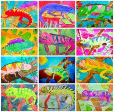 Watercolor Chameleon Art Lesson How to draw & paint a chameleon. Art project for kids. Art Journal Pages, Cameleon Art, Deep Space Sparkle, Jungle Art, Animal Art Projects, 2nd Grade Art, School Art Projects, Kindergarten Art, Art Lessons Elementary