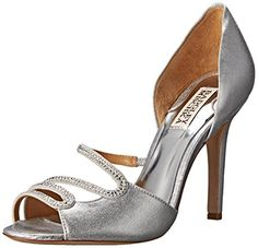 Badgley Mischka Women's Poloma D'Orsay Pump, Silver, 8 M US -- You can get more details by clicking on the image.