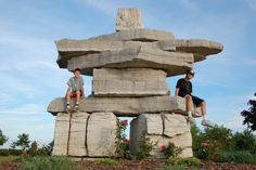 An inukshuk in a park between Collingwood and Wasaga Beach, Ontario, Canada