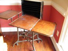 Vintage UHL Toledo Typewriter Stenographer Desk Industrial Steampunk art metal
