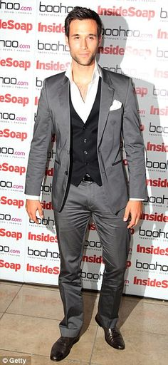 Suave guys: Emmerdale star Rik Makarem wore a grey suit whereas Hollyoaks actor…