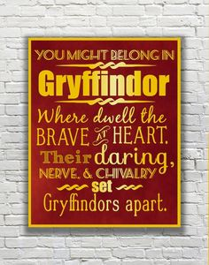 Harry Potter Typography Quote  Gryffindor According by FanFaires, $11.00