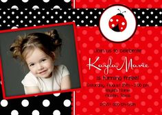 Birthday Party Invitation - Red Lady Bug - DIY Printable - Dots. $12.50, via Etsy.