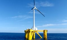 The 2 megawatt, downwind-type floating wind turbine Fukushima Mirai. Photo credit: Marubeni Corp.