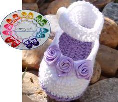 Pés Chique  Chinelos Bordados.: Crochet baby girl shoes