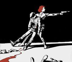 Avengers fanart- Black Widow + Hawkeye