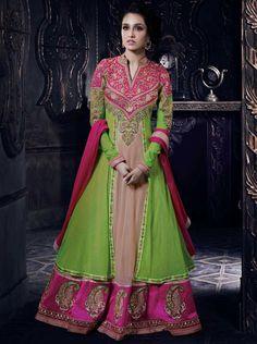 Buy Online Stunning Pink-Green Bollywood Anarkali Salwar Kameez