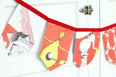 dr seuss' theme if I ran the circus bunting banner, vintage children story book, bedroom / birthday / shower garland, photo prop backdrop