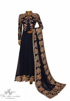Elegant navy-blue frock suit adorn in embroidery