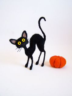 Funny black cat-Needle Felted toy,miniature cat-small toy-Halloween decoration-gift