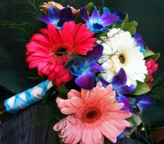Vivid Gerberas and Orchids
