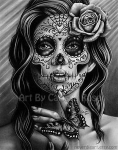 in Signed Art Print - Serenity - Day of the Dead Sugar Skull Girl Black and White Tattoo Art Portrait Rose Tattoos, Body Art Tattoos, Girl Tattoos, Sleeve Tattoos, Tattoo Art, Tattoo Portrait, Buddha Tattoos, Sun Tattoos, White Tattoos