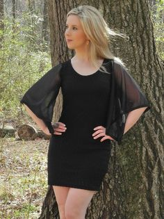 Black Backless Dress with Sheer Sleeve - $44.00 : FashionCupcake, Designer Clothing, Accessories, and Gifts