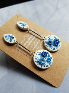 Handmade dangle earrings made with polymer clay embroidery in white and blue - Earrings Polymer Clay Embroidery, Handmade Polymer Clay, Polymer Clay Earrings, Blue Earrings, Dangle Earrings, Jewellery Earrings, Clay Jewelry, Jewelry Crafts, Polymer Clay Projects