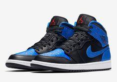 the latest 713dd 5b307 Nike Air Jordan 1 Mid Speckle 554724-048 Black Royal Blue Paint Mens New