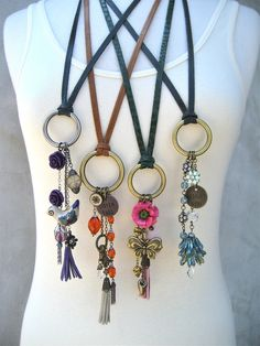 Long Boho Charm Necklace - Purple - Bird - Tassel - Leather - Flower - Vintage - Dangling - Piece Lust. $65.00, via Etsy.
