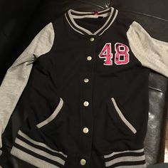Black and Grey Varsity Jacket black and grey varsity jacket size s H&M Jackets & Coats