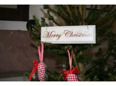 "Vintage/Shabby Chic/Retro Christmas Hanging Sign ""Merry Christmas"""