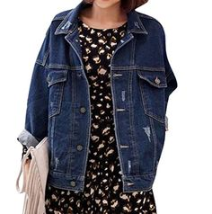 98eb011330a MOUTEN Womens Plus Size Single breasted Loose Fit Denim Jacket Coat 1 M  Denim Jackets