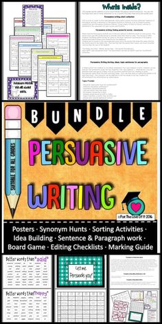 Persuasive writing Activities Bundle Products + and BONUS FILE! - This is a bundle of my 6 best Persuasive Writing products in TpT! Writing Resources, Writing Activities, Learning Resources, Writing Ideas, Teacher Resources, Persuasive Writing, Opinion Writing, Paragraph Writing, Learning Goals