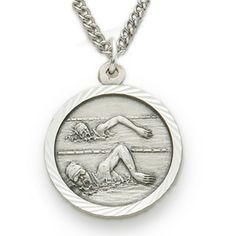 Sterling Silver Female Swimmer Medal, St. Christopher on Back http://www.truefaithjewelry.com/sm8597sh.html