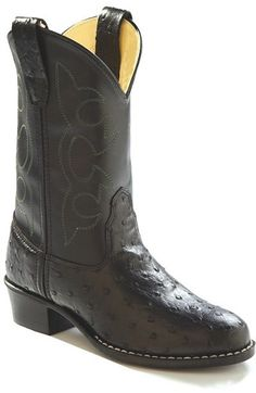 Old West Round Toe Boots: Black Ostrich/Black - SPECIAL ORDER - Small in the Saddle