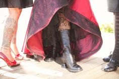 Love the heel on these boots!!!Red dress, boots, tights = win
