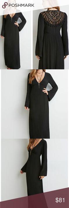 Black Boho maxi.  Crochet back  NWT   Elvira Dress Black Boho maxi.  Crochet back  NWT   Elvira Dress. Sold out online/stores Forever 21 Dresses Maxi