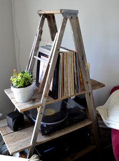 Interesting record station made from an old ladder.