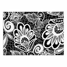 KESS InHouse Petit Griffin 'Floral Lace BW' Abstract Modern Dog Place Mat, 13' x 18' ** Trust me, this is great! Click the image. : Dog food container