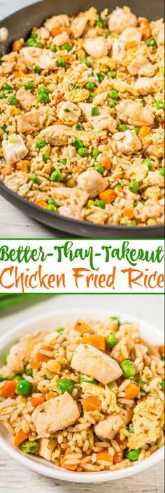 Easy Better-Than-Takeout Chicken Fried Rice - Averie Cooks - One-skillet, ready in 20 minutes, and you'll never want takeout again after tasting how good homemade is! Way more flavor, not greasy, and loads of juicy chicken! Comida Filipina, Asian Recipes, Healthy Recipes, Good Recipes, Food Dishes, Dinner Recipes, Dinner Ideas, Healthy Eating, Healthy Food