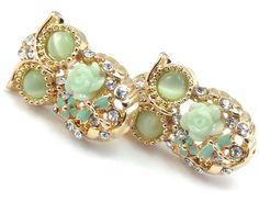New Gold Tone Cubic Zirconia Green Stone Owl Earrings Pierced by Ashley
