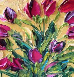 Original Impasto Oil Painting Magenta Tulips Free , Painting by Jan Ironside.