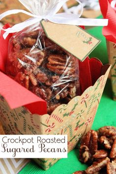 Halved pecans tossed with butter, powdered sugar, and spices and slow cooked until glazed. These make wonderful Christmas gifts!