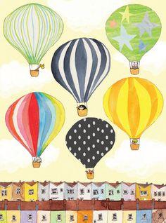 Totterdown Balloons Coloured Houses Children's Illustration Print // Children's Bedroom, Home Decor. £10.50, via Etsy.