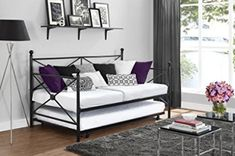 DHP has managed to rack up a number of positions among the best Full Size Daybeds With Trundle. Its top product, which we also recommend is the DHP Manila Metal Daybed and Trundle. Everything about this daybed is very convenient. Metal Daybed With Trundle, Full Size Daybed, Black Daybed, Trundle Daybed, Daybeds, Black Rooms, Upholstered Beds, Quality Furniture, Home Decor