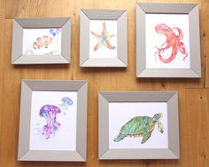 Under The Sea kids room / nursery - Galley Wall Set of 5 original Art Prints, turtle, octopus, starfish by LittleFellaPrints on Etsy https://www.etsy.com/listing/250720318/under-the-sea-galley-wall-set-of-5
